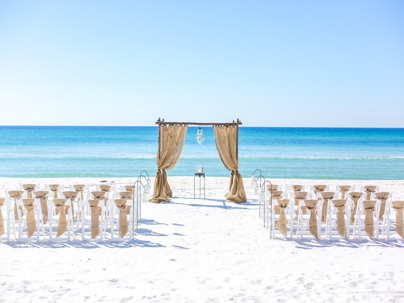 destin wedding bamboo arch